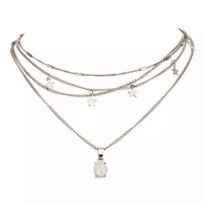 NEW! OPAL SILVER MULTILAYER STAR SILVER NECKLACE